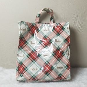 Harrods tartan shopper tote bag holiday